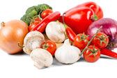 Organic vegetables like onion, mushrooms, broccoli — Stock Photo