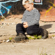Introvert little boy sitting thinking — Stock Photo