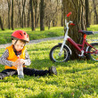 Cute young boy out riding on his bicycle — Stock Photo #24406239