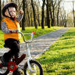 Proud little boy boy with his bike — Stock Photo