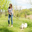Young woman walking her dog — Stock Photo #24846427