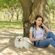 Little dog and its owner resting in the shade — Stock Photo