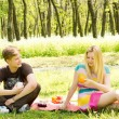 Young couple enjoying a picnic — Stock Photo