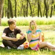 Cute young couple having food on picnic — Stock Photo