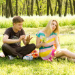 Handsome boyfriend hot girlfriend on picnic — Stock Photo