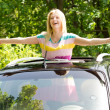 Playful womstanding in car sunroof — Stock Photo #25082825