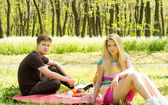 Couple on a picnic date — Stock Photo