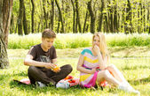 Beautiful happy couple having fruits on picnic — Stock Photo