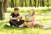 Handsome boyfriend hot girlfriend on picnic — Stock Photo