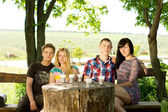 Grupp unga vänner njuta av en drink — Stockfoto