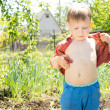 Hot little boy removing his shirt — Stock Photo #25364879