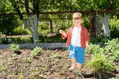 A cute kid walking in the garden — Stock Photo