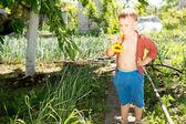 Młody chłopak prowadzenia pik — Zdjęcie stockowe