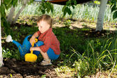 Boy digging in the vegetable patch — Stock Photo