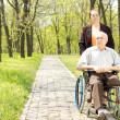 Wife walking a disabled man in a wheelchair — Stock Photo #25460833