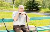 Senior man outdoors — Stock Photo