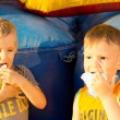 Portrait of two young boys sharing cotton-candy — Stock Photo #26144395