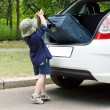 Cute little boy loading his case — Stock Photo #26144593