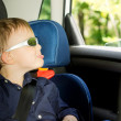 Playful small boy sitting in a child car-seat — Stock Photo #26144617
