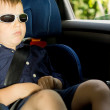 Young boy sleeping in the child car-seat — Stock Photo #26144629