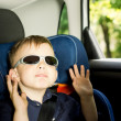 Playful small boy sitting in a child car-seat — Stock Photo #26144635