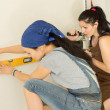 Two female friends doing DIY at home — Stock Photo #26456629