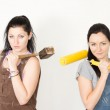 Two DIY females posing with their tools — Stock Photo #26456849