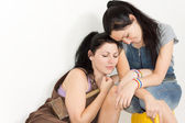Two affectionate sisters resting — Stock Photo
