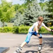 Young girl out roller skating — Stock Photo