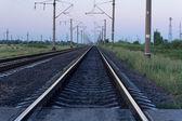 Vía férrea con postes de electricidad — Foto de Stock