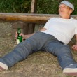 Drunk man experiencing euphoria in the park — Stock Photo
