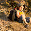 Little boy relaxing during a hiking expedition — Stock Photo