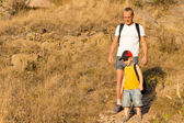 Father hiking with his small son — Stock Photo