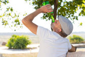 Rear view of an alcoholic man drinking in the park — Foto Stock