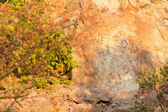 Benvenuto scritta su una roccia di montagna — Foto Stock