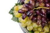 Red and green grapes on a metal tray — Stock Photo