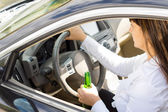 Dangerous female driver — Stock Photo