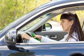 Drunk female driver with impaired ability — Stock Photo