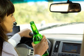 Drunken female driver — Stock Photo