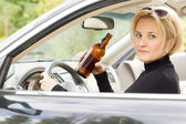Intoxicated woman driver — Stock Photo