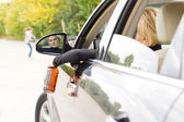 Drunk woman driver about to hit a pedestrian — Stock Photo