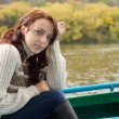 Beautiful woman out boating — Stock Photo #32826301