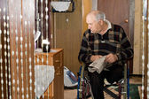 View into a room of a disabled elderly man — Stock Photo