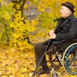 Retired handicapped man in an autumn park — Stock Photo #33814167