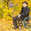 Elderly amputee enjoying a day in a fall park — Stock Photo