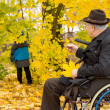 Senior man in a wheelchair in fall woods — Stock Photo