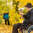 Stock Photo: Senior man in a wheelchair in fall woods