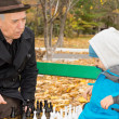 Senior man teaching his grandson chess — Stock Photo