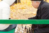 Senior gentleman playing chess — Stock Photo