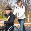Smiling carer pushing an old man in a wheelchair — Stock Photo